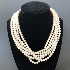 "Vintage Signed ""Lisa"" Pearl Necklace w/Rhinestone"